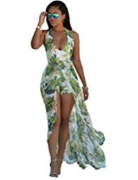 Janeyer Womens Sexy Halter Deep V Neck Floral Chiffon Jumpsuit Romper Pant Dress S