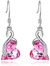 Sterling Silver Earrings Love Heart Drop Dangle Earring with Swarovski Crystals, Jewelry for women
