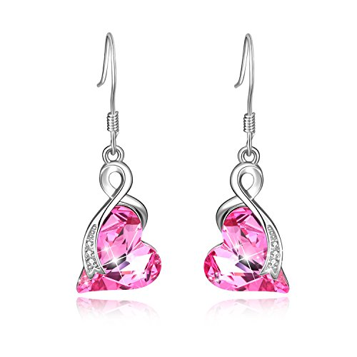 Love Heart French Hook Dangle Drop Earrings Women 925 Sterling Silver with Pink Swarovski Crystals Jewelry Gift for Her ()