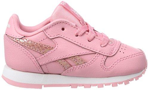 Reebok CL Leather Spring, Zapatillas de Gimnasia Para Niñas Rosa (Pink/White 000)