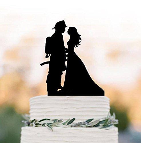 Fireman Groom And Bride Silhouette Wedding Cake Toppers Funny Wedding Cake Topper Firefighter Cake Topper Unique Cake Topper Decor For Wedding]()