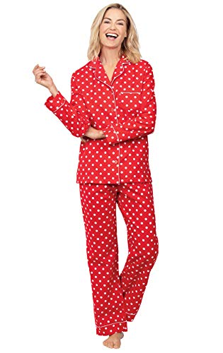 PajamaGram Valentine's Pajamas Sets - Cotton Pajamas for Women, Red, L, 12-14