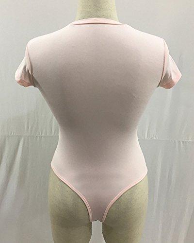 Overall Bodysuit Mit Rundhals Für Frauen Kurzarm Body Leotard Tops Bodycon Unterhemd Bodysuit String-Body Pink gwNeApHQj