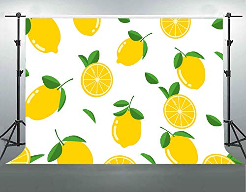 F-Fun Soul Flat Cartoon Backdrop Lemon Photography Background for Theme Party Photography Backdrops Cotton Photo Video Studio Props 7X5ft FSLX006