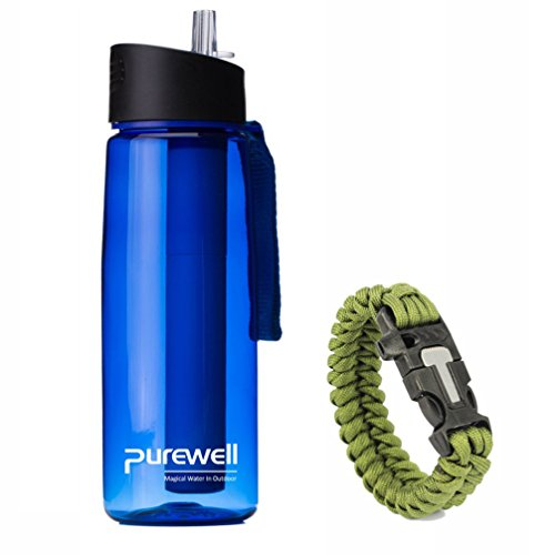 Personal Water Filter Bottle with 2 Stage Integrated Filter Straw for Hiking Include Paracord Bracelet with Fire Starter