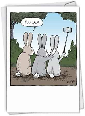 Bunny Selfies - Funny Happy Birthday Greeting Card with Envelope (4.63 x 6.75 Inch) - Rabbit Cartoon Bday Celebration and Congrats Note Card - Humorous Animal Stationery Notecard C2750BDG