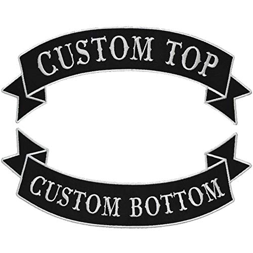 Custom Biker Vest Patch - Top and Bottom Banner Style Tab and Rocker - Sew On