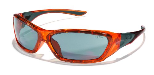 Crews ForceFlex FF137 Safety Glasses Ballisitic Silver Mirror Lens and Translucent Orange Frame Frame, 1 - Faces Glasses Small For Safety