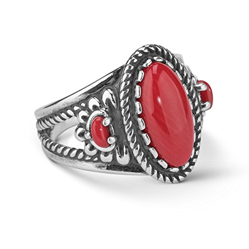 925 Silver Red Coral Flower Ring- Size 9