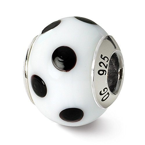 Sterling Silver, White and Black Dotted Murano Glass Charm