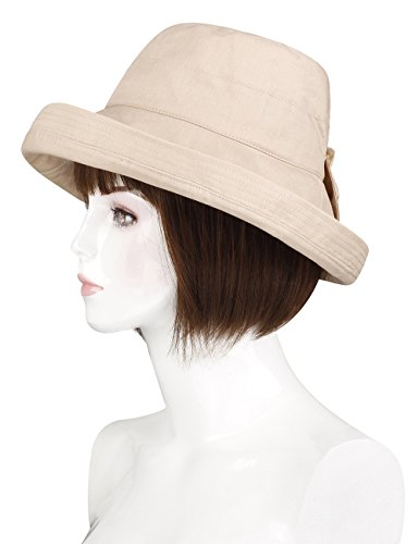 ADAMARIS Fashion Wide Brim Wool Felt Hat Pearl Sun Hat for (Felt Hat Design)