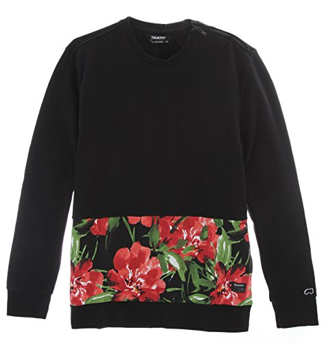 Trukfit Men's Floral Cut and Sew Crew Neck, Black, X-Large (Lil Wayne Trukfit Hoodie)