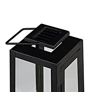 Black Metal Solar Powered LED Fully Weatherproof Outdoor Garden & Patio Flameless Candle Lantern