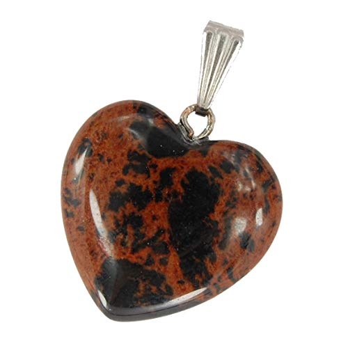 Mahogany Obsidian Necklace - Steampunkers USA Big Heart Collection - 20mm Classic Mahogany Obsidian Brown - Pendant Only - Tribal Ethnic Carved Necklace - Stainless Steel Bail