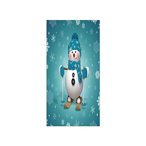 (3D Decorative Film Privacy Window Film No Glue,Snowman,Skiing with Ornate Snowflakes Winter Vacation Activity Fun Hobby Decorative,Turquoise White Pale Brown,for Home&Office)