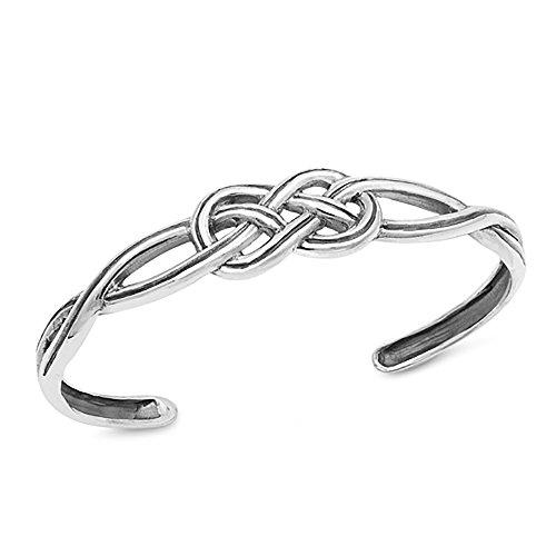 - 12.5mm 925 Sterling Silver Bracelet Celtic Love Knot Adjustable Cuff Bangle Bracelet, 7.5