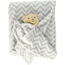 Hudson Baby Plush Blanket and Animal Security Blanket Set, Gray Bear