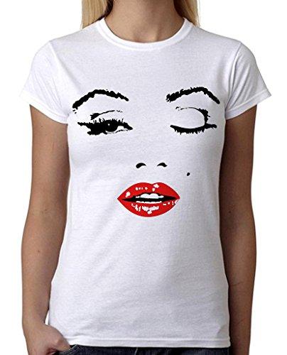 Marilyn Monroe Makeup Face Tee B632 Junior's PLY White T-Shirt 2X-Large ()