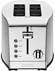 KRUPS 2 Slice Toaster, Stainless Steel Toaster, 5 Functions with Cancel, Toasting, Defrost, Reheat and Bagel, Cord Storage, Silver