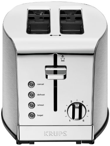 KRUPS KH732D Breakfast Set 2-Slot Toaster with Brushed and Chrome Stainless Steel Housing, 2-Slice, Silver