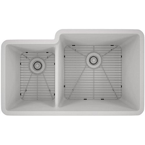 (Lexicon Platinum Quartz Composite Kitchen Sink - Large Offset Double Bowl (LP-4060 White))