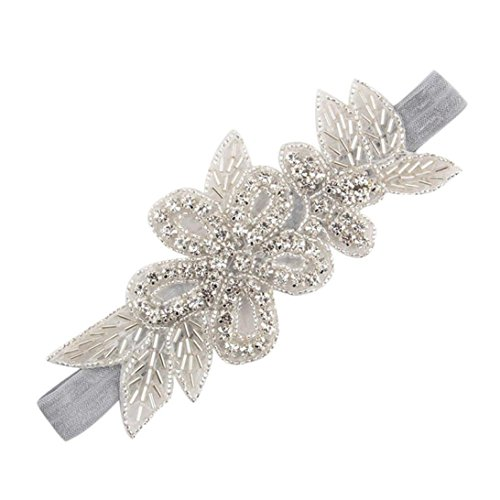 Leedford Baby Girl Infant Rhinestone Headbands flower with leaves Ribbon Princess Hairband (0-5T, Gray) (Baby Unique Headbands)