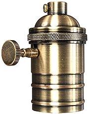 Retrolampsockel, E26/E27, antik koppar, mässing, Edison lamphållare med på/av-brytare, ES-skruvströmbrytare, hängande lamphållare