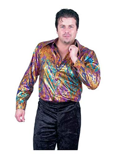 70's Inspired Halloween Costumes (Charades Men's Rainbow Swirl Disco Shirt Costume,)
