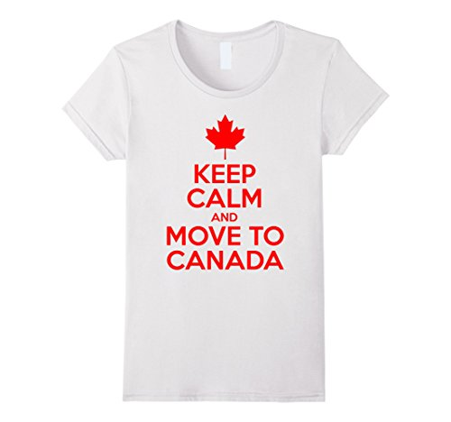 [Women's Keep Calm and move to Canada Small White] (Sister Brother Halloween Costume Ideas)