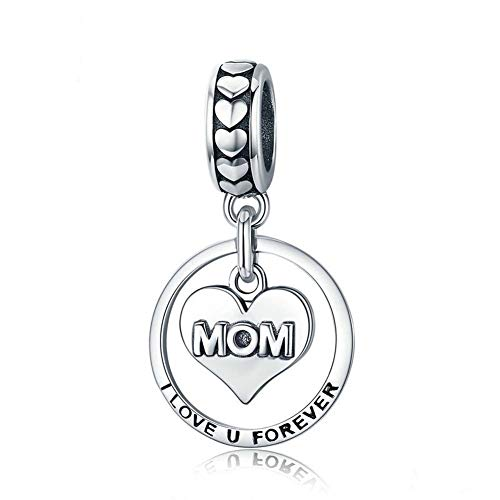 (Mom Mother Love Charm Beads 925 Sterling Silver Flower Heart Safety Chain Gift for Mom Wife Fit DIY Bracelet or Necklace(I Love Mom Forever))