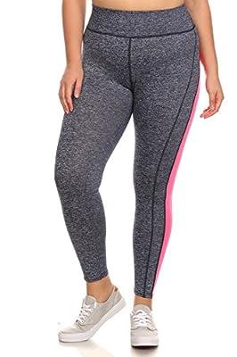 Plus Size Women's Color Block Athletic Leggings Tights Yoga Pants
