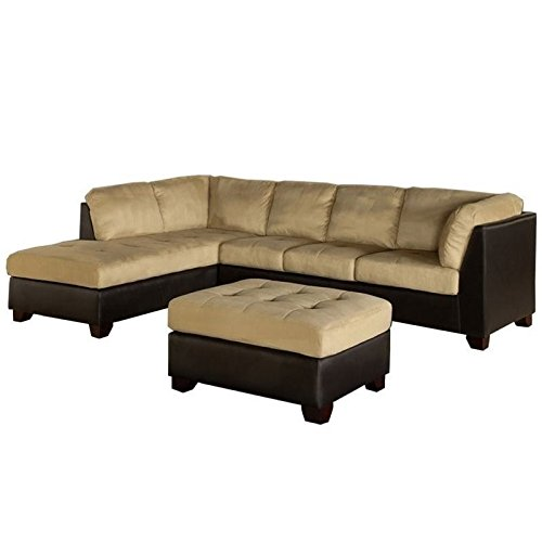 Bowery Hill Micro-suede Sectional Sofa in Sandstone