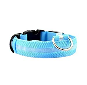 Dog Safety Nylon Collar Extra Batteries LED Flashing and Solid Blue