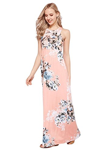 Sportoli Maxi Dresses for Women Solid Lightweight Long Racerback Sleeveless W/Pocket -Dusty Pink Florel (X-Large)