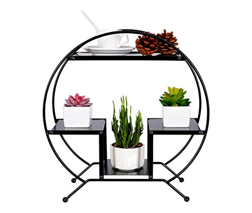 (PAG 3-Tier Metal Desktop Shelf Succulents Micro Plant Pot Holder Stand Photo Display Rack for Home and Office,Black)