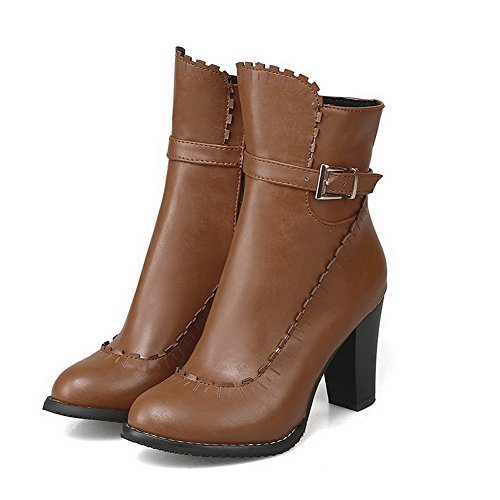 High Heels AgooLar Closed Women's Boots Round Brown Pu Toe Solid Zipper BxtIrYt