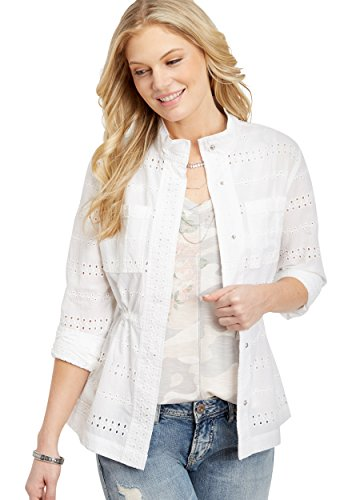 maurices Women's Eyelet Jacket with Cinch Waist XX Large White