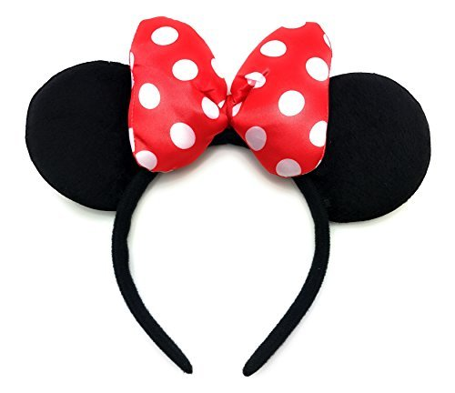 MeeTHan Minnie Mouse Ears Red Headbands: M4 (Dot bow Red)