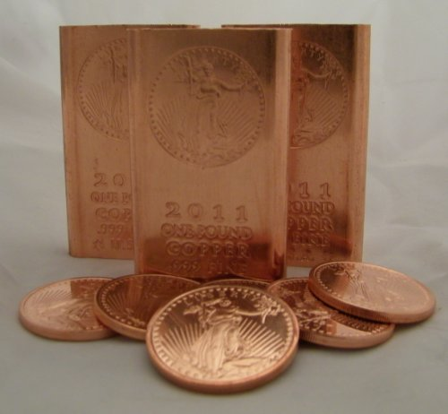 (1 Pound (Flat Style) Copper Bullion Bars + 5 (Five) 1 Ounce Copper Rounds @ Great Price)