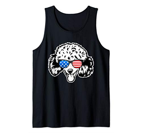Tank Poodle - Poodle 4th of July USA American Flag Patriotic Gift Tank Top