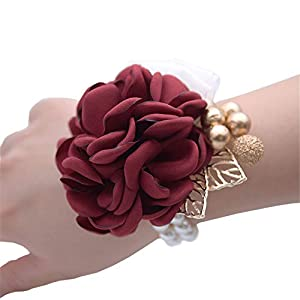 MOJUN Rose Hand Flower Corsage for Prom Party Silk Wedding Wrist Flower Golden Leaves Berries Jewelry Decor 82