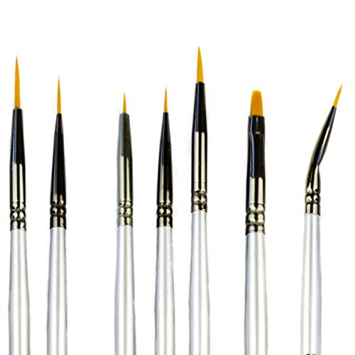 Best Model Miniature Paint Brushes - Small Detail Paint Brush Set - 7 pcs Model Paint Brushes for Miniature Painting, Fine Detailing - Tiny, Mini, Micro Fine Detail Paint brushes kits