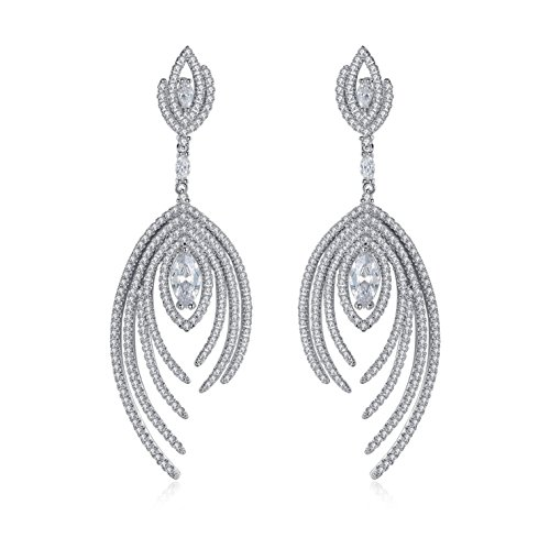 Facet Marquise -  Platinum Plated Floral Marquise Cubic Zirconia Earrings