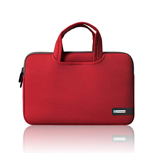 15.6 Inch Laptop Sleeve,LOVPHONE Water-Resistant Notebook Computer Case Cover for MacBook Air/Pro/Lenovo/ASUS/Samsung/Acer/HP and All 15 Inch Notebooks,Slim-fit Neoprene Briefcase(Red)