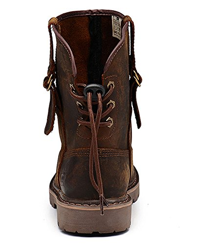 Insun Mens Crazy Horse Leather Pull On Work Boots Crazy Horse Leather Brown