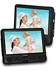 UEME 9.5 Dual Screen Portable DVD Player,Car DVD Player, 800x1024 HD LCD Screen, USB/SD/MMC Card Readers, Built-in 5 Hours Rechargeable Battery, Stereo Sound, Regions Free, AV Out & in