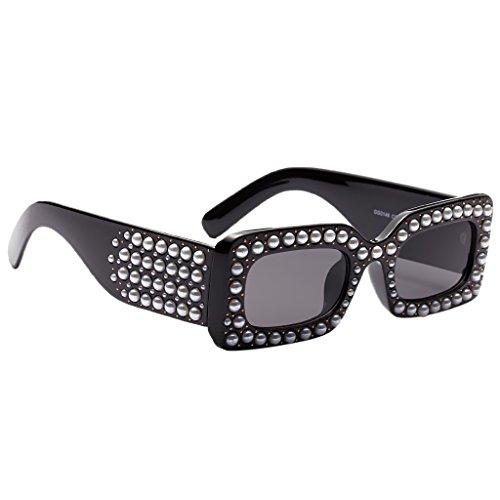 Vacances Mode gris Lunette Cadre Surdimensionnées Soleil Femme Sharplace noir cadre Carre de Lunettes wxqzIY78