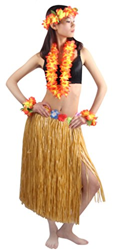 Fighting to Achieve 5pcs/ Set Women's Hawaiian Luau 80cm Grass Hula Skirt]()