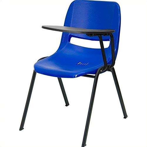 - Flash Furniture Blue Ergonomic Shell Chair with Left Handed Flip-Up Tablet Arm