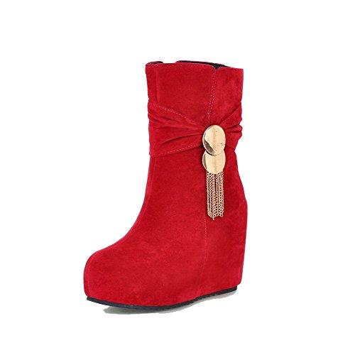 Allhqfashion Mujeres Low-top Zipper Frosted High-heels Round Bota Cerrado Con Hechizos Rojo